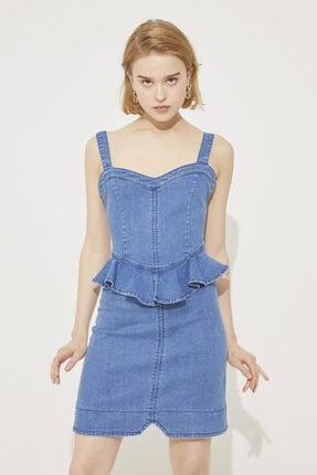 adL Kadın Mavi Askılı Beli Volanlı Jean Elbise