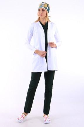 AWEST Kadın Klasik Yaka Doktor Önlüğü Öğretmen Önlüğü Hemşire Önlüğü Eczacı 85cm Orta Boy Önlük
