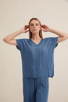 Gusto V Yaka Pilise Bluz - Mavi