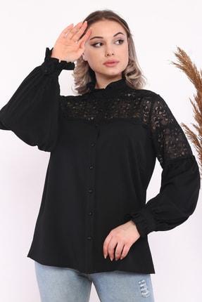 Loom Boutique Kadın Büyük Beden Dantel Garnili Krep Gömlek