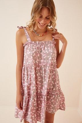 Happiness İst. Kadın Pembe Çiçekli Askılı Yazlık Mini Viskon Elbise DD00963