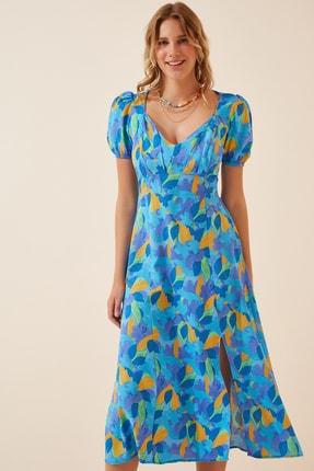 Happiness İst. Kadın Koyu Mavi Çiçekli Yırtmaçlı Uzun Yazlık Elbise HF00250
