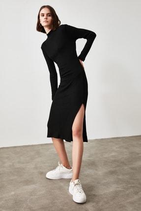 TRENDYOLMİLLA Siyah Fitilli Bodycon Midi Örme Elbise TWOAW21EL0135