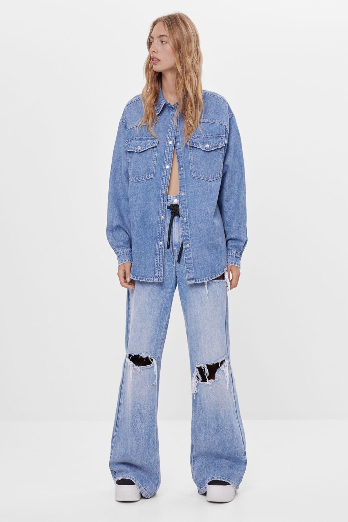 Bershka Kadın Açık Mavi Wide Leg Jean Pantolon 1