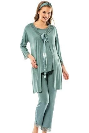 ERDEM İÇ GİYİM Yeşil 3'lü Hamile Pijama Takım