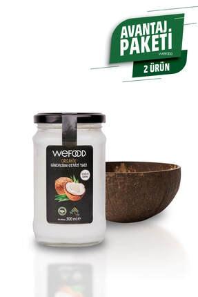 Wefood Organik Hindistan Cevizi Yağı 300 ml + El Yapımı Natürel Hindistan Cevizi Kasesi
