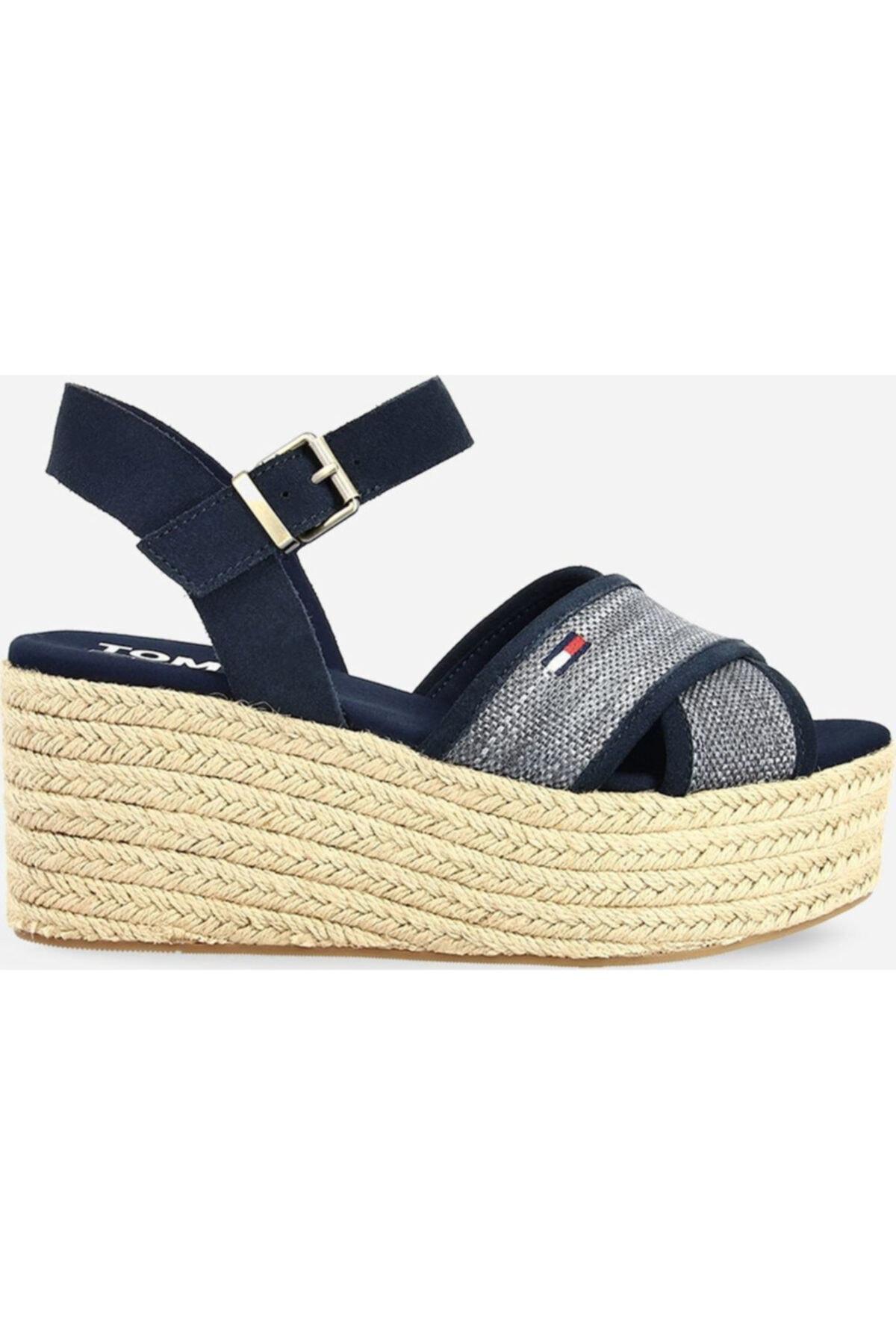 Tommy Hilfiger Kadın Lacivert Dolgu Topuk Sandalet En0en00910-c87 1