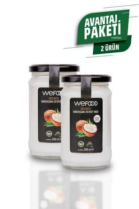Wefood Organik Hindistan Cevizi Yağı 300 ml (Organik Sertifikalı, Soğuk Sıkım) 2'li
