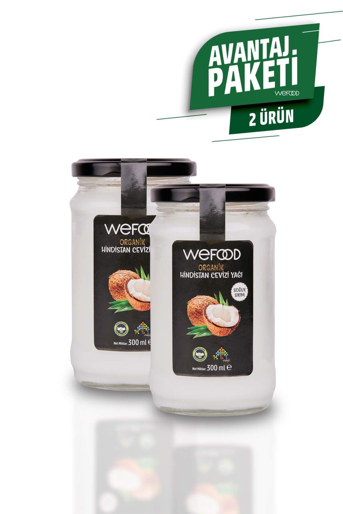 Wefood Organik Hindistan Cevizi Yağı 300 ml (Organik Sertifikalı, Soğuk Sıkım) 2'li 1