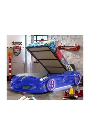 Setay Jaguar Bazalı Full Ledli Arabalı Yatak Mavi + Ortopedik Yatak + Nevresim