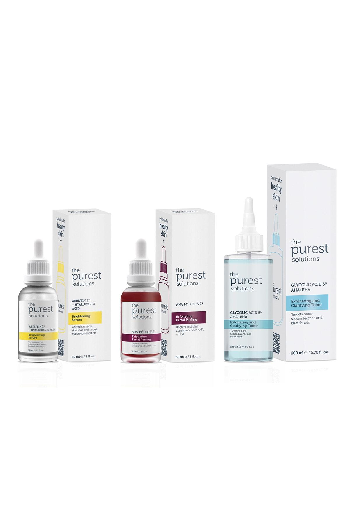 The Purest Solutions Leke Önleyici Aydınlatıcı Ve Gözenek Sıkılaştırıcı Cilt Bakım Seti 200ml 30ml 30ml 1