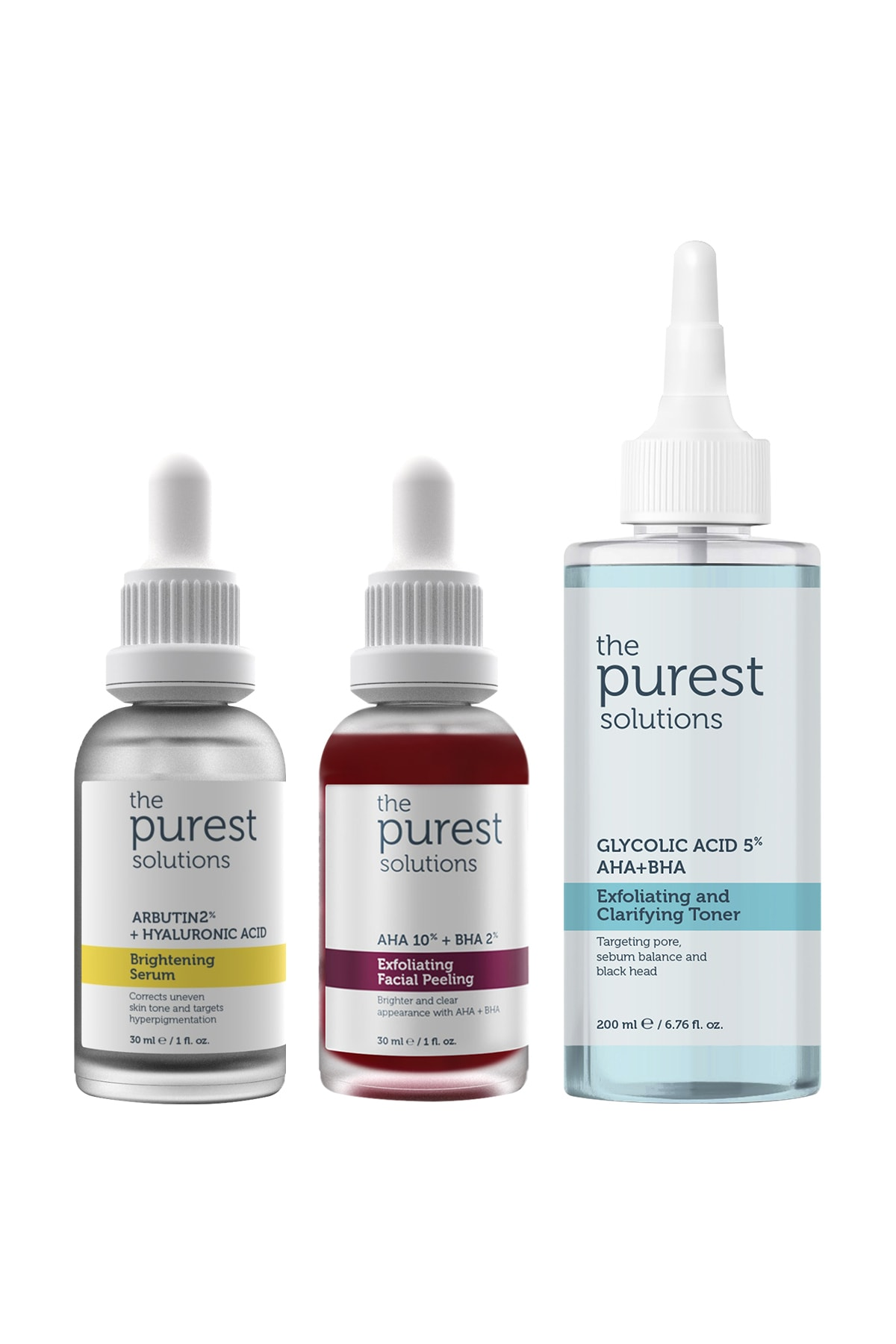 The Purest Solutions Leke Önleyici Aydınlatıcı Ve Gözenek Sıkılaştırıcı Cilt Bakım Seti 200ml 30ml 30ml 2