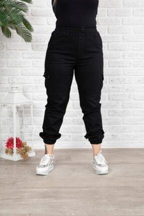 HÜLYA BUTİK Kadın Siyah Jeans Beli Lastikli Kargo Pantolon