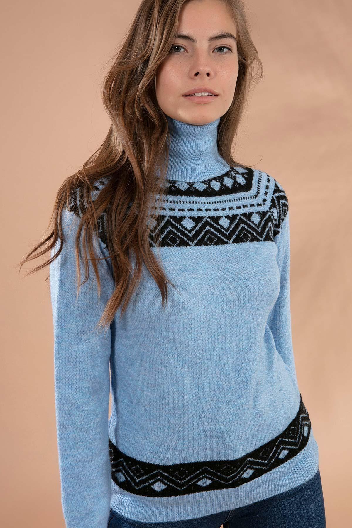 Y-London Kadın Mavi Boğazlı Triko Kazak Y19W109-80122
