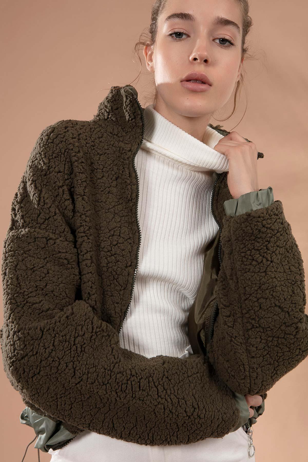 Y-London Kadın Haki Önü Fermuarlı Cepli Kuzu Ceket Y19W127-10420 1