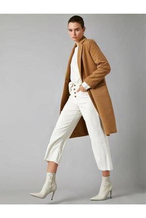 Koton Kadın Kahverengi Cep Detayli Dügmeli Kaban