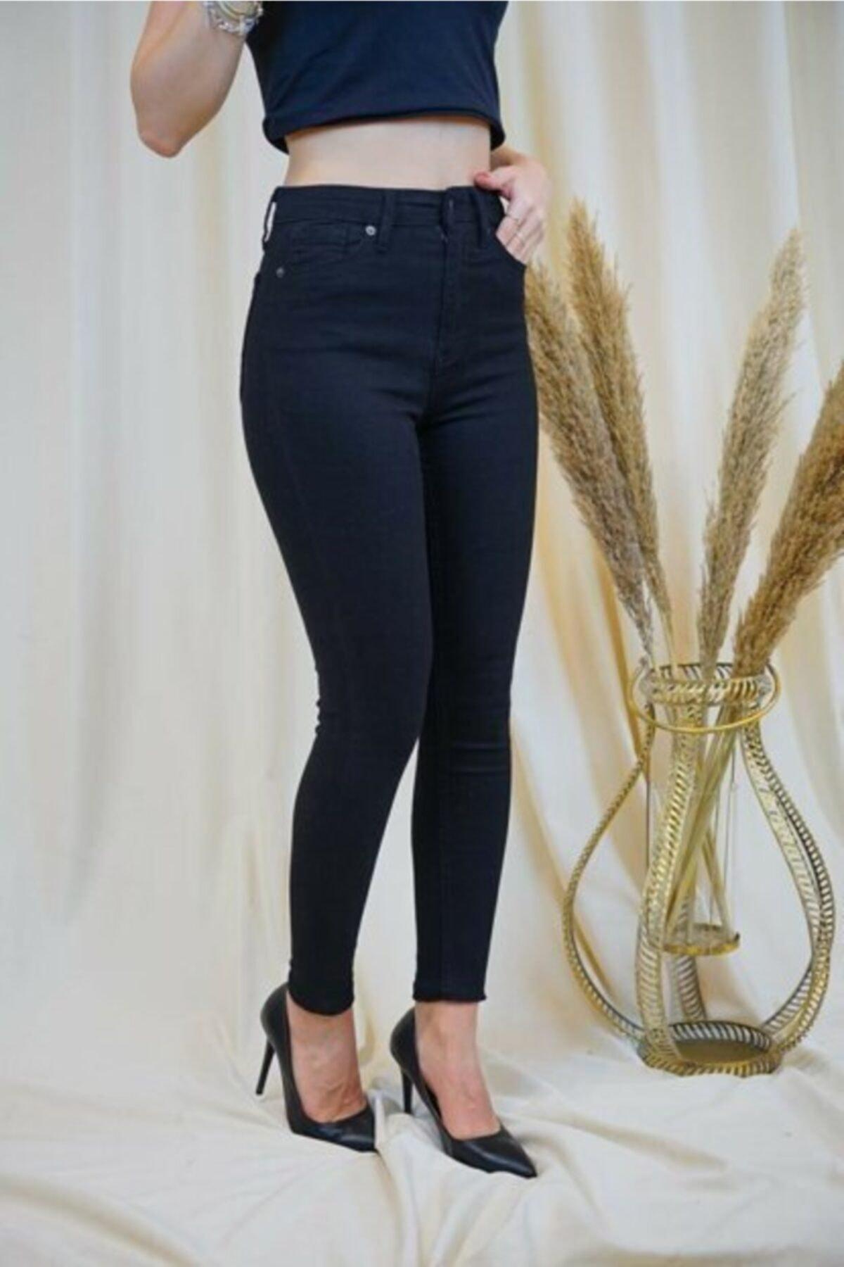 Düşes-Kaside Kadın Siyah Yüksek Bel Keten Pantolon 1