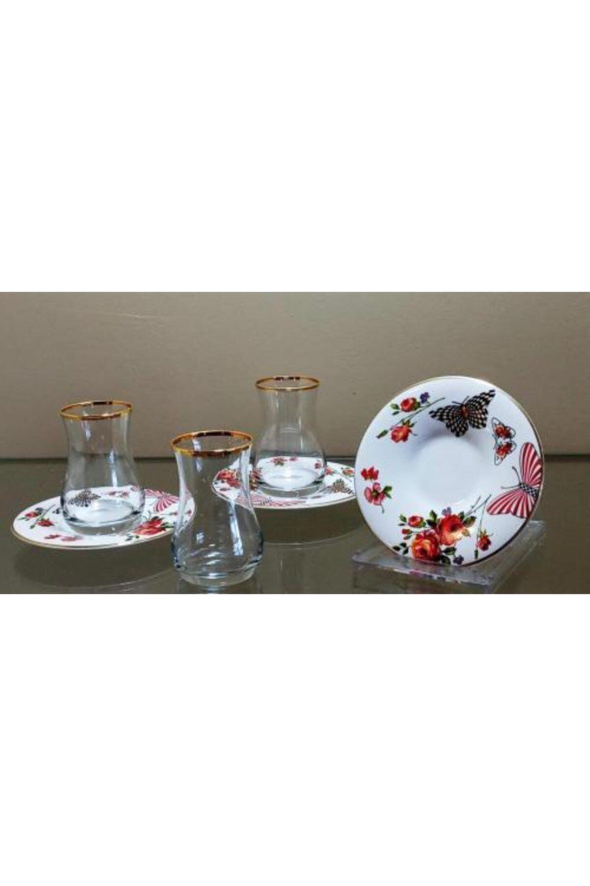 çerçi Homechic Carat Çay Seti 6 Kişilik Çiçek Desen 3 1