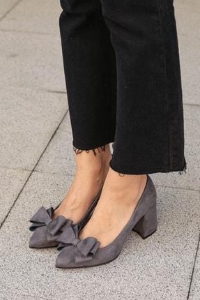 Mio Gusto Gri Kadın Topuklu Ayakkabı 02057GRY