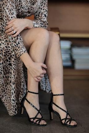 Mio Gusto Hakiki Deri Kimberly Siyah Topuklu Ayakkabı