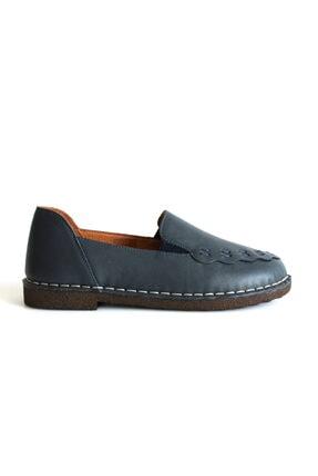 Beta Shoes Kadın Deri Lacivert Ayakkabı