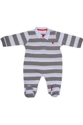 bebegen Unisex Beyaz Gri Kırmızı Çizgili Yakalı Tulum