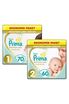 Prima Bebek Bezi Premium Care Yenidoğan 1 Beden 70 Adet + 2 Beden 60 Adet SET