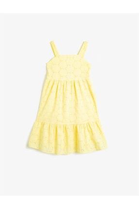 Koton Kız Çocuk Sarı Dantelli Firfirli Askili Elbise