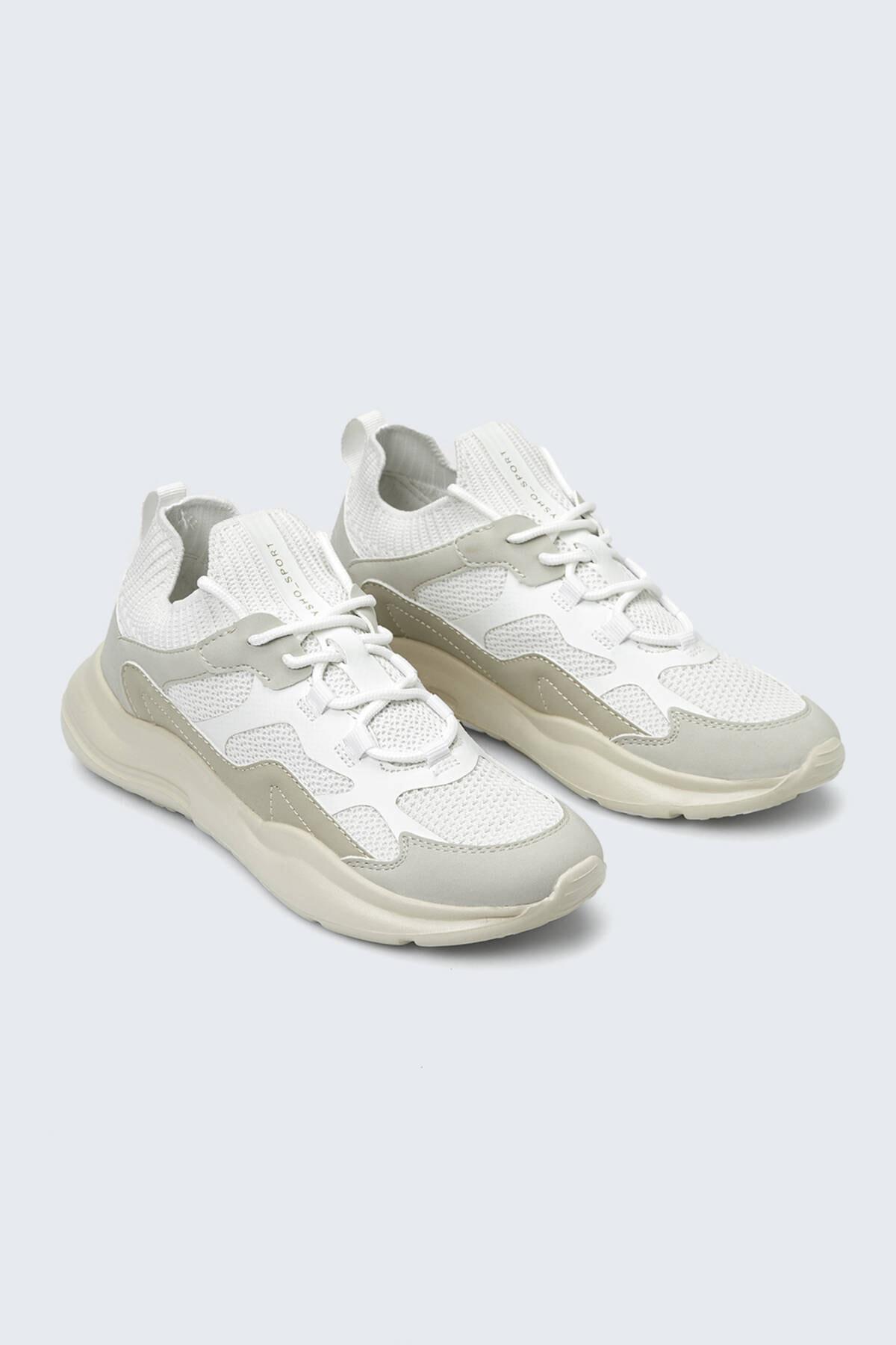 Oysho Kadın Ekru Parçalı Çorap Tarzı Spor Ayakkabı