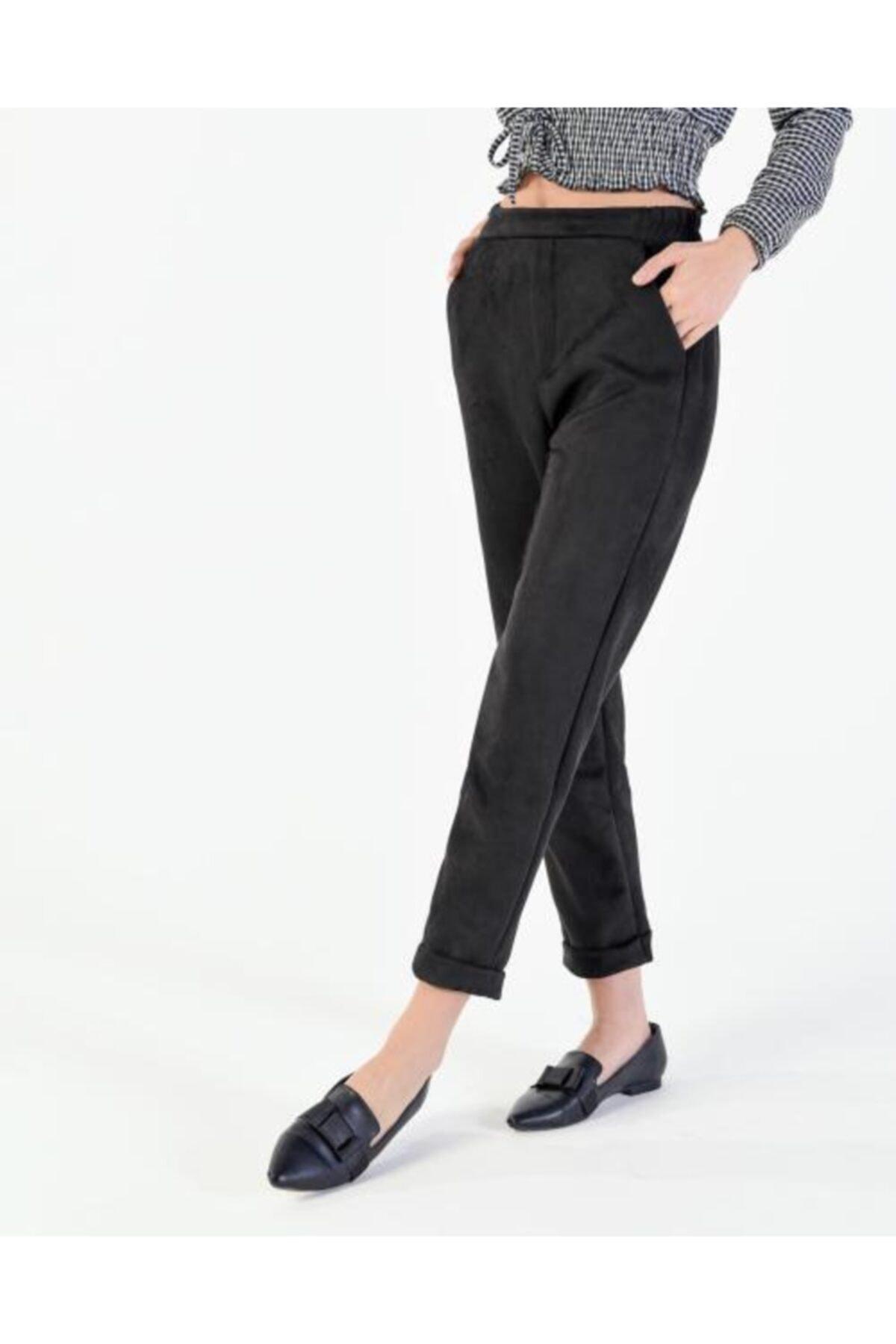Vision Kadın Siyah Katlama Paça Süet Pantolon 1