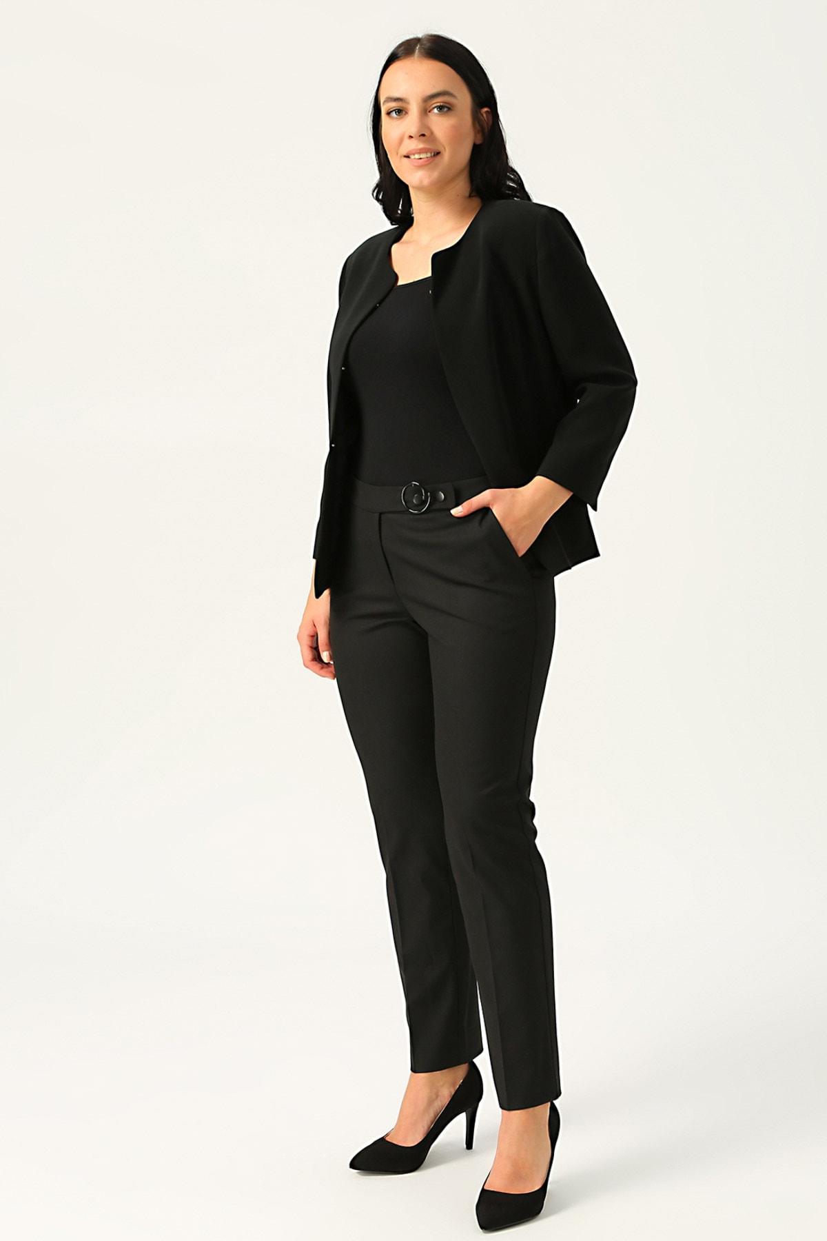Ekol Kadın Siyah Beli Tokalı Dar Paça Pantolon 20K.EKL.PNT.03001.1 1