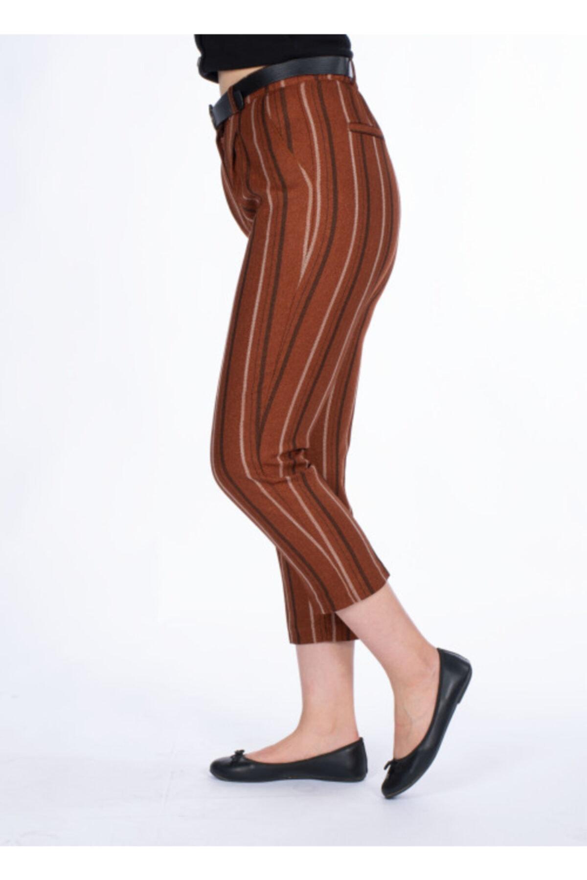 Vision Kadın Kiremit Kemer Detaylı Pantolon 2