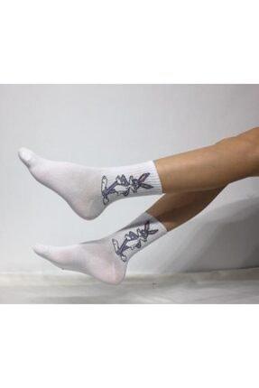 ADEL ÇORAP Unisex Beyaz Kolej Çorabı