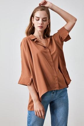 TRENDYOLMİLLA Camel Oversize Gömlek TWOSS20GO0200