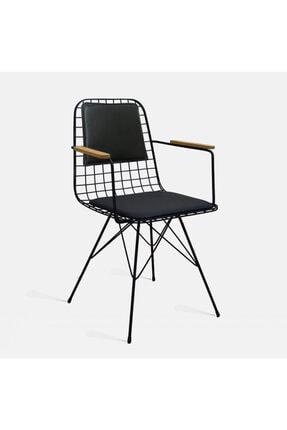Theia Tasarım Tel Sandalye Kolçaklı Ve Sırt Minderli Siyah