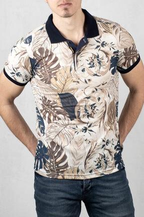 DeepSEA Erkek Ekru Polo Yaka Desenli Düğme Detaylı Slim Fit Tişört 2000105