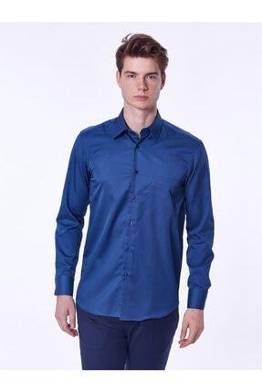 Dufy Indigo Pamuklu Saten Klasik Büyük Beden Erkek Gömlek - Battal