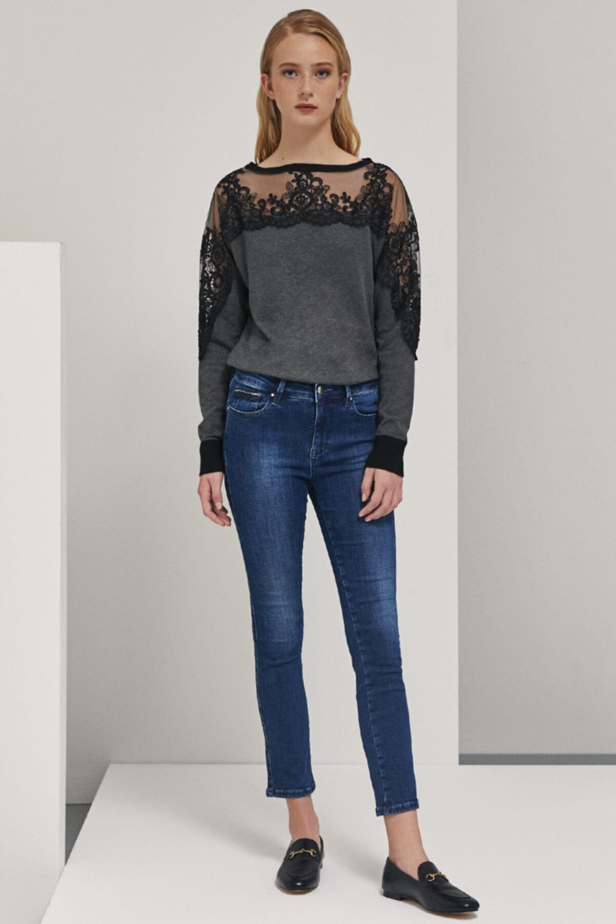 Perspective Kadın Mavi Cep Detaylı Skinny Fit  Pantolon 1