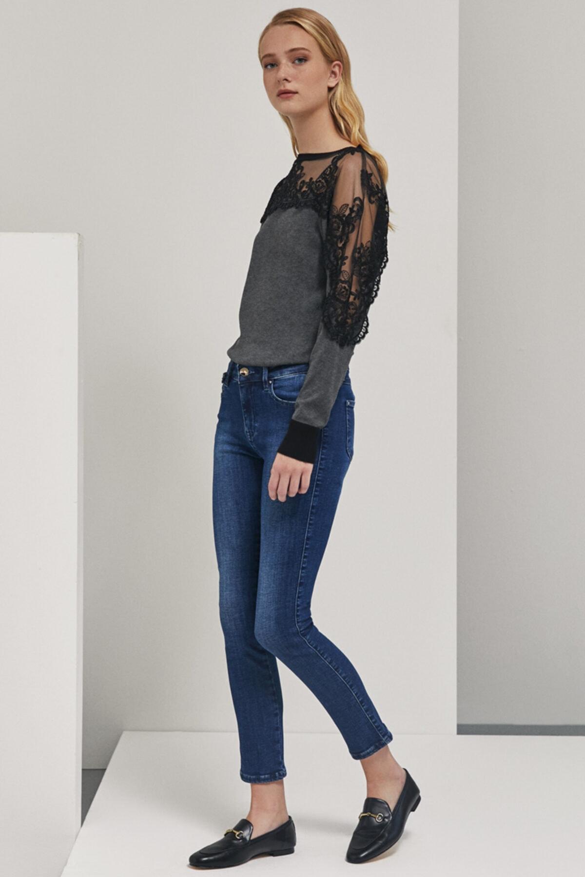 Perspective Kadın Mavi Cep Detaylı Skinny Fit  Pantolon 2