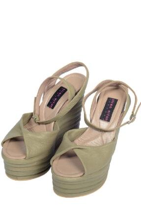 Siren Ertan ISTANBUL Hakiki Deri Full Deri Yeşil  Dolgu Topuklu Ayakkabı