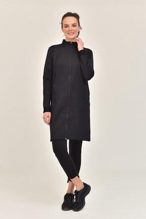 bilcee Siyah Kadın Uzun Ceket GS-1516