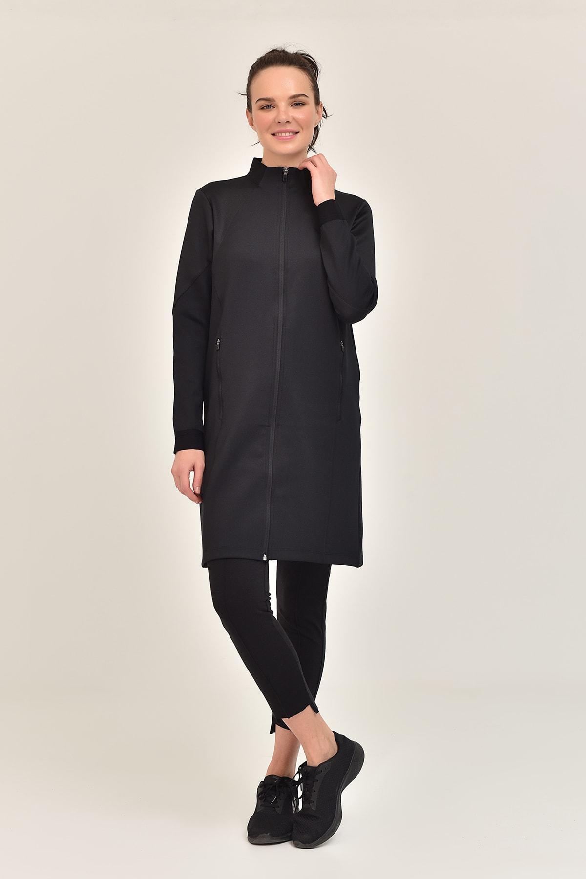 bilcee Siyah Kadın Uzun Ceket GS-1516 1