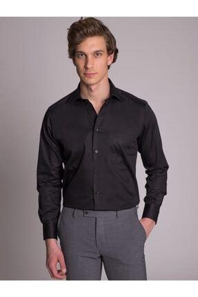 Dufy Siyah Pamuklu Saten Klasik Büyük Beden Erkek Gömlek - Battal