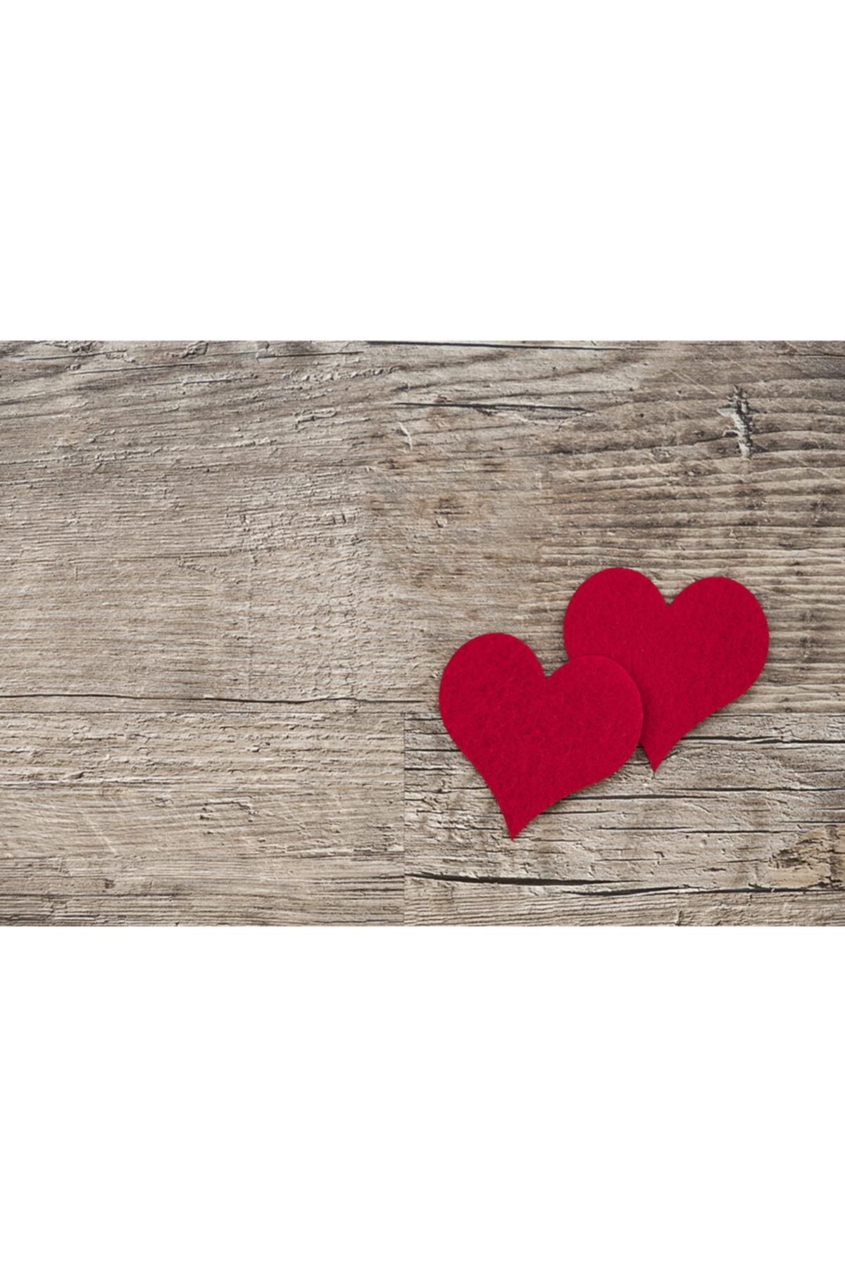ELF Design Kırmızı Kalp Ahşap Amerikan Servis 4 Lü 2