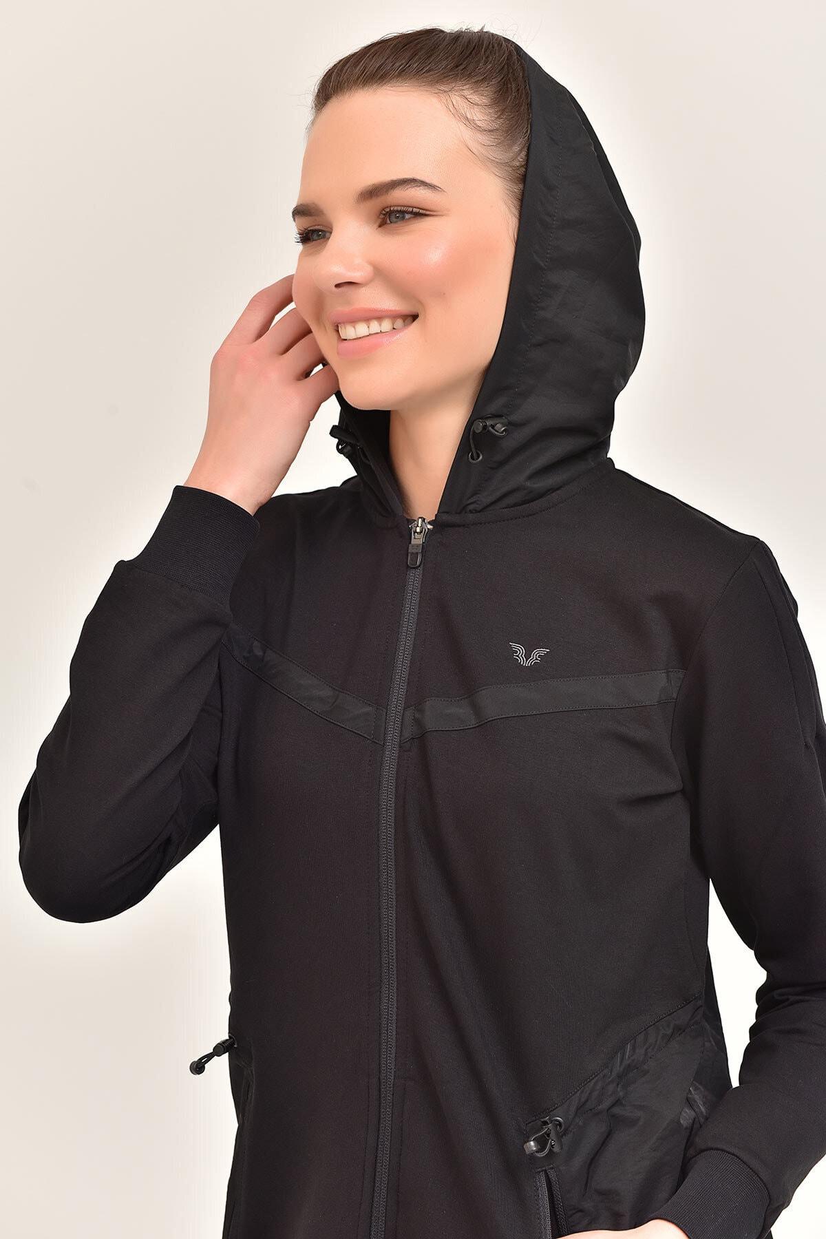 bilcee Siyah Kadın Uzun Ceket GS-1522 2