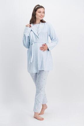 Arnetta Happy Baby Mavimelanj Kadın Lohusa Pijama Takımı, Sabahlık 3'lü Takım