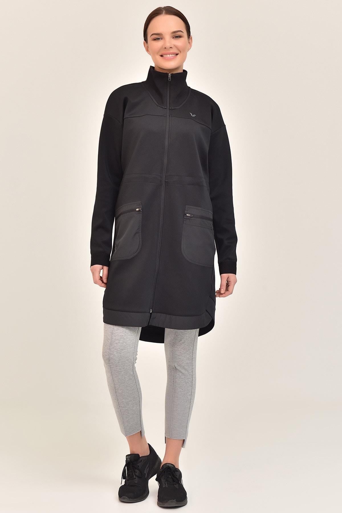 bilcee Siyah Kadın Uzun Ceket GS-1521 1