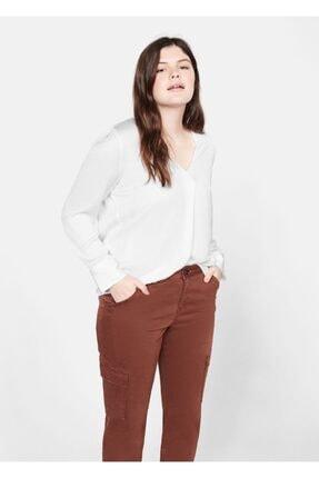 Violeta by MANGO Kadın Beyaz Saten Bluz