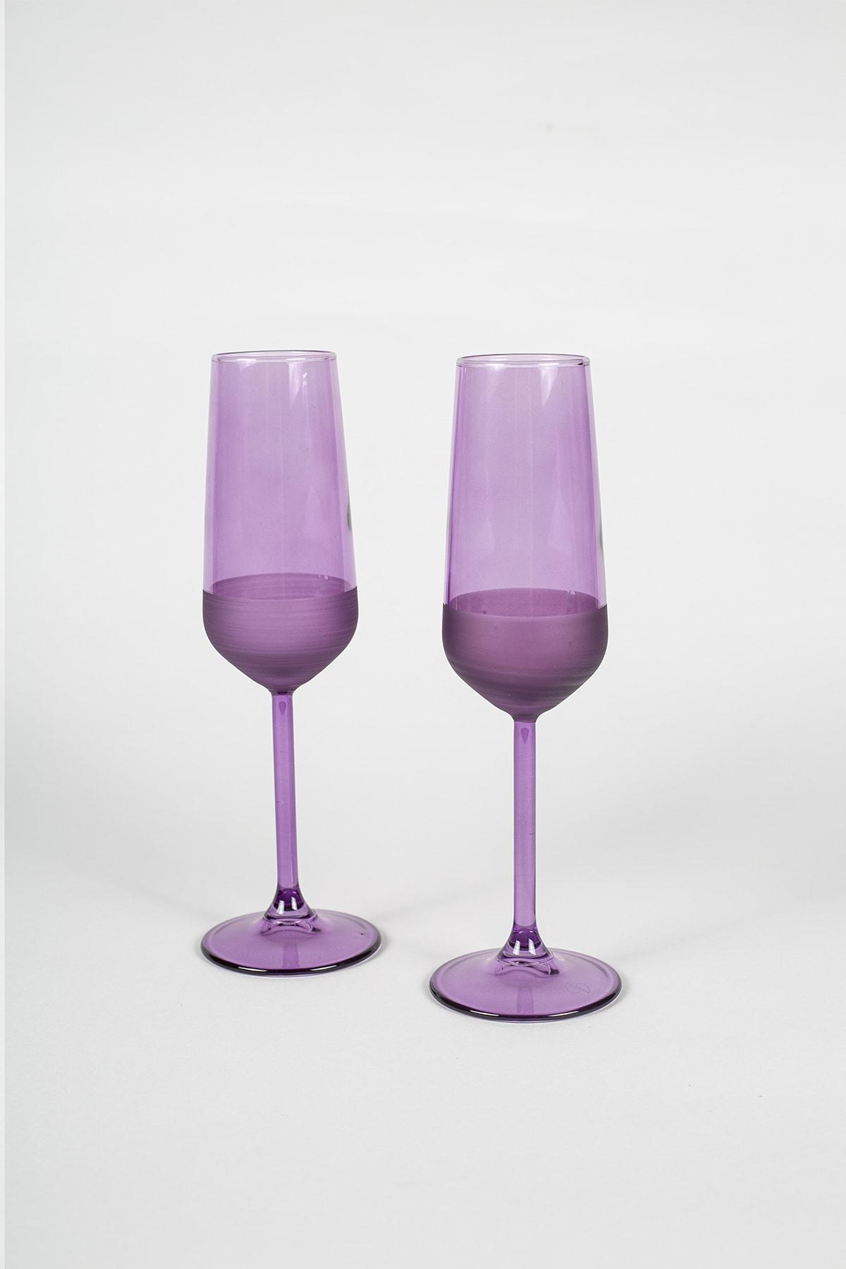 Rakle Matte 2'li Şampanya Kadehi Seti Mor 195 Cc 1