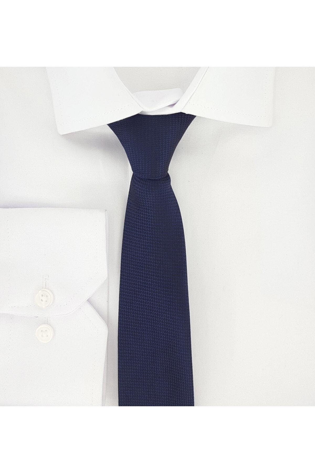 Elegante Cravatte Lacivert Renginde Armürlü Dokuma Kravat Ve Mendil 2